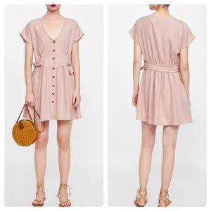 Zara Pink Button Front Dress